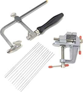 Basic Jewelers Saw Frame and 12 Blades and Mini Bench Vise with Clamp Jewelry Making Tools