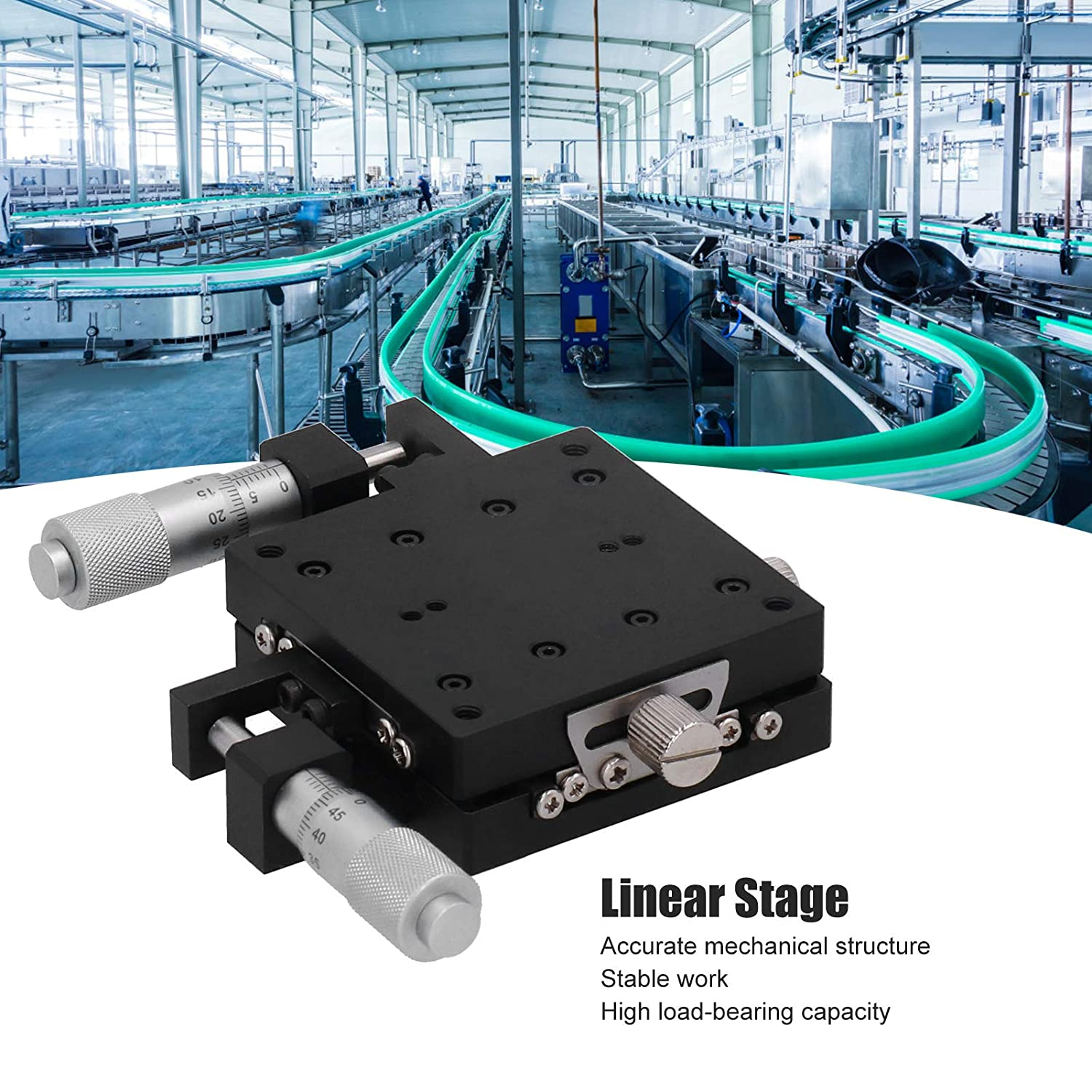 SEMYW60‑AS Linear Sliding Table XY Axis Manual Platform Cross Roller Guide Type Stage 60x60mm
