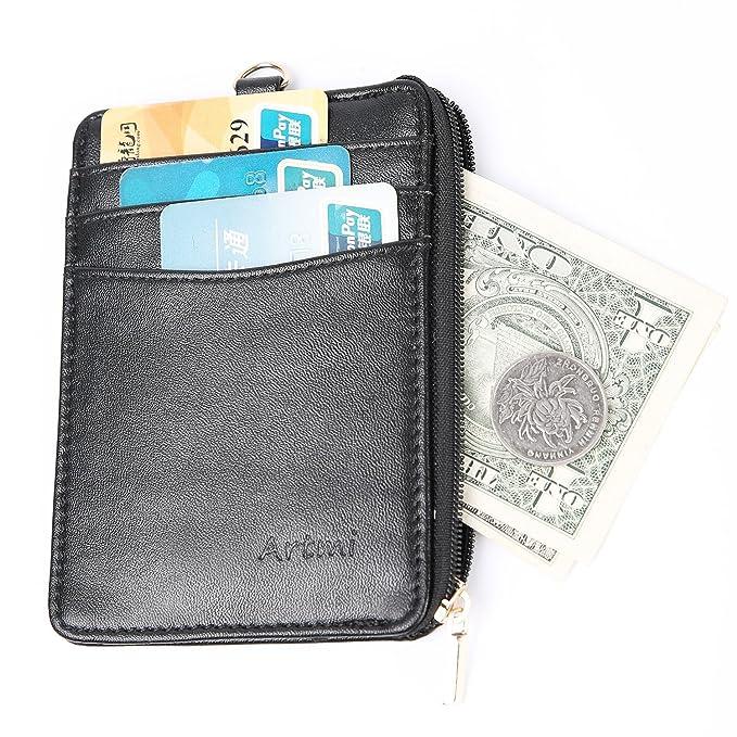 Amazon.com: Tarjetero de piel para mujer con bolsillo con ...