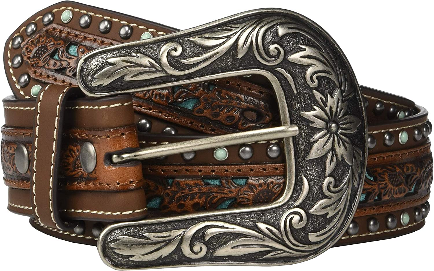 M/&F Western Womens Nocona Pierced Center Overlay w//Studded Edges Belt Brown//Turquoise SM