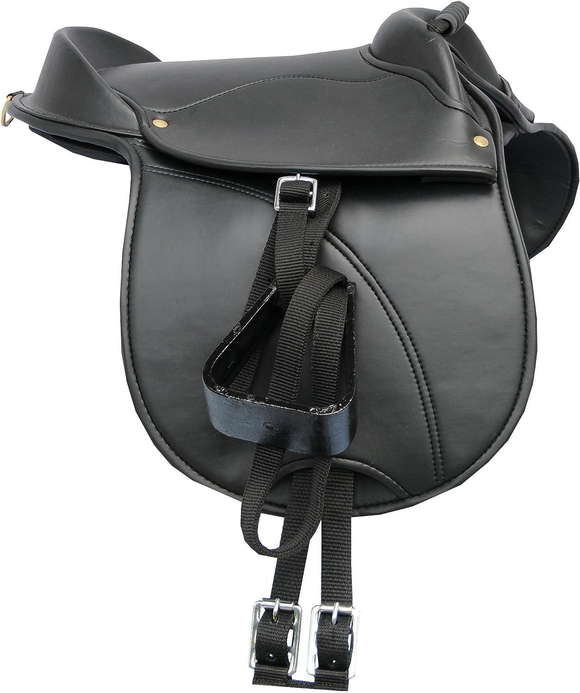 AMKA Shetty - Cojín de equitación, tamaño Shetty - Sillín para niños (4 piezas, ajustable, con correa, estribo y correa para sillín, también adecuado para caballos de madera)