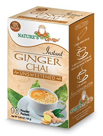 Natures Guru Instant Ginger Chai Tea Drink Mix, Unsweetened, 10 Count Single Serve On