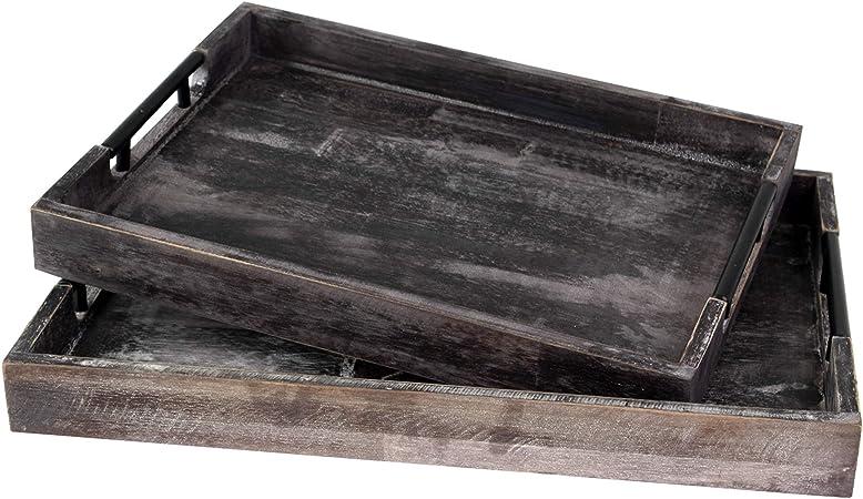 Bandeja de madera rústica decorativa con mango para desayuno, bebidas, aperitivos, mesa de café comedor y decoración del hogar (juego de 2 rectángulo marrón con mango de acero): Amazon.es: Hogar