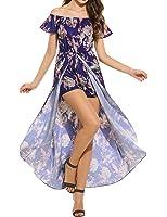 Meaneor Women's Casual Floral Boho Off Shoulder Short Sleeve Romper Maxi Dress
