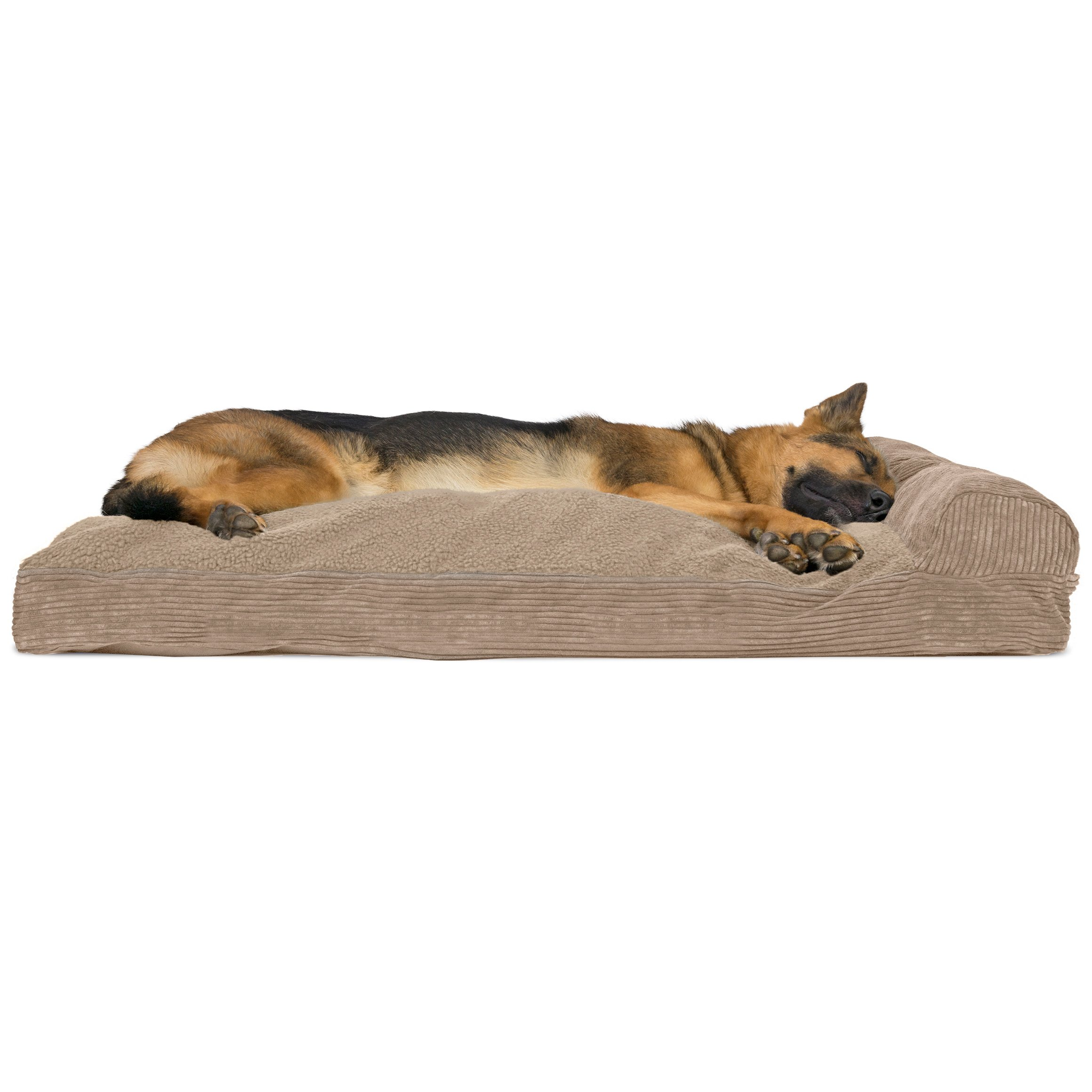 Furhaven Pet Dog Bed | Faux Fleece & Corduroy Deluxe Chaise Lounge Pillow Cushion Sofa-Style Living Room Couch Pet Bed w/ Removable Cover for Dogs & Cats, Sandstone, Jumbo by Furhaven