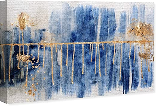 Amazon Com The Oliver Gal Artist Co Abstract Wall Art Canvas Prints Path Home Décor 54 W X 36 H X 1 5 D Blue Gold Home Kitchen