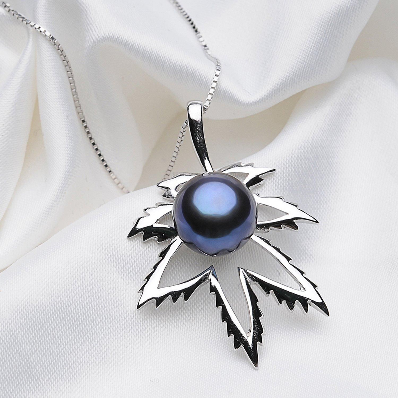 CS-DB Pendants Maple Leaf Shape Black Pearl Silver Necklaces