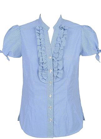 gut aus x weltweite Auswahl an Luxus kaufen Spieth & Wensky Damen Trachtenbluse Elmara blau weiß kariert ...
