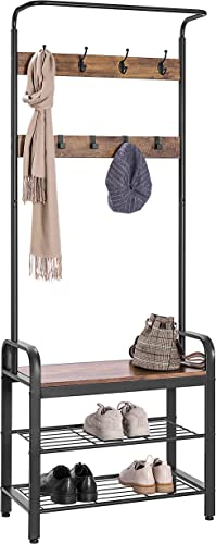 VIVOHOME 3-in-1 Entryway Hall Tree, Heavy Duty MDF Stand Coat Rack with Storage Bench, Industrial Wood Furniture with Stable Metal Frame, 8 Hooks