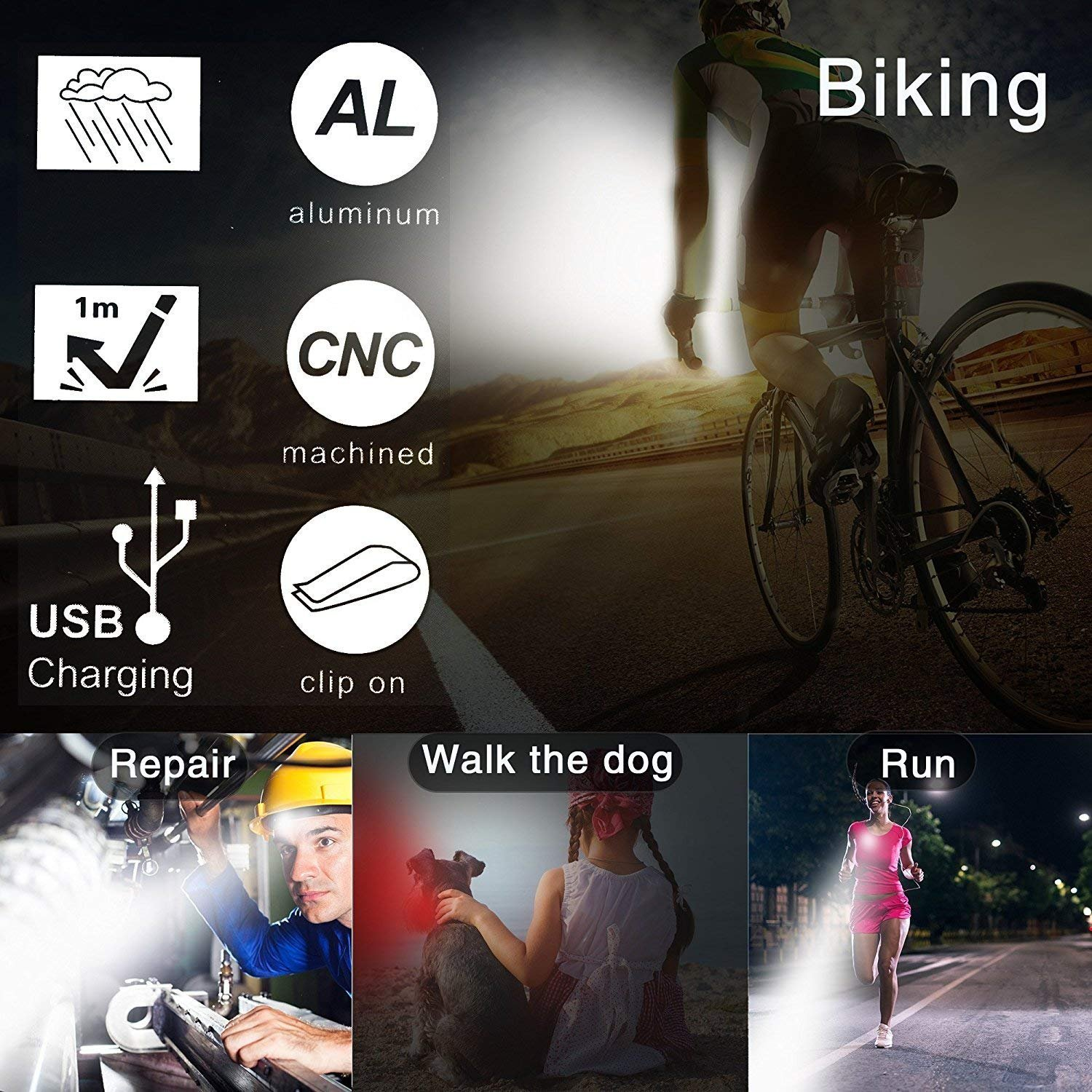 4 Light Mode Options Akale Rechargeable Bike Light Set Easy to Install for Kids Men Women Road Cycling IPX4 Waterproof Bike Headlight LED Bicycle Lights Front and Rear 650mah Lithium Battery