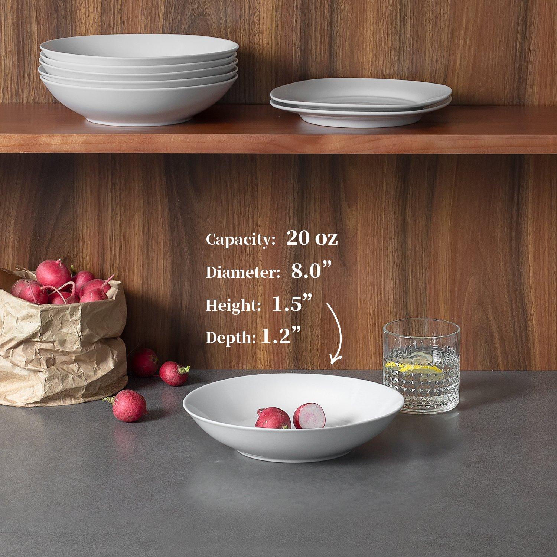 poco profundos y blancos Cuencos de porcelana para ensalada//pasta de 20 onzas juego de 6 cuencos para sopa