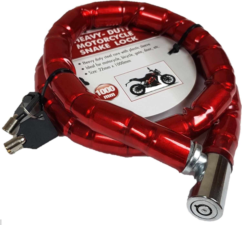 Moto bicicleta ciclo de Bcycle serpiente Lock 22/mm x 1/metre 2-Keys 22/M cadena de acero.