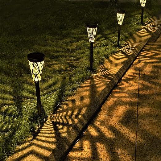 Luces Solares Jardín Metal LED Lámpara de Camino de Paisaje Blanco Cálido IP65 Impermeables Para Patio Césped Pasillo Terraza (4 Pack): Amazon.es: Iluminación
