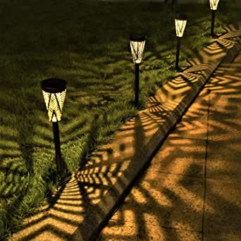 LeiDrail Solar Pathway Lights Outdoor Garden Metal Solar Powered Walkway Warm White LED Landscape Lighting Waterproof for Lawn Patio Yard - 4 Pack (Bronze)