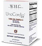 WHC - UnoCardio X2 - Triglyceride Omega-3 fatty acids - 1300 mg fish Oil supplement (600 mg EPA / 495 mg DHA / Total 1200 mg of Omega 3 per serving)