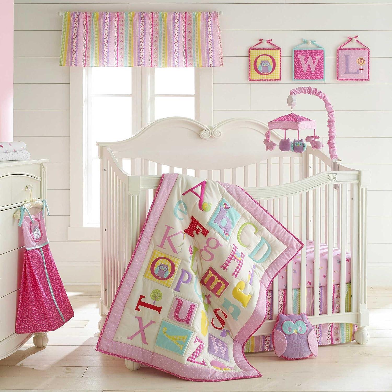 Owlphabet 4 Piece Crib Bedding Set Color: Pink by Laura Ashley Baby   B00BUXL34S