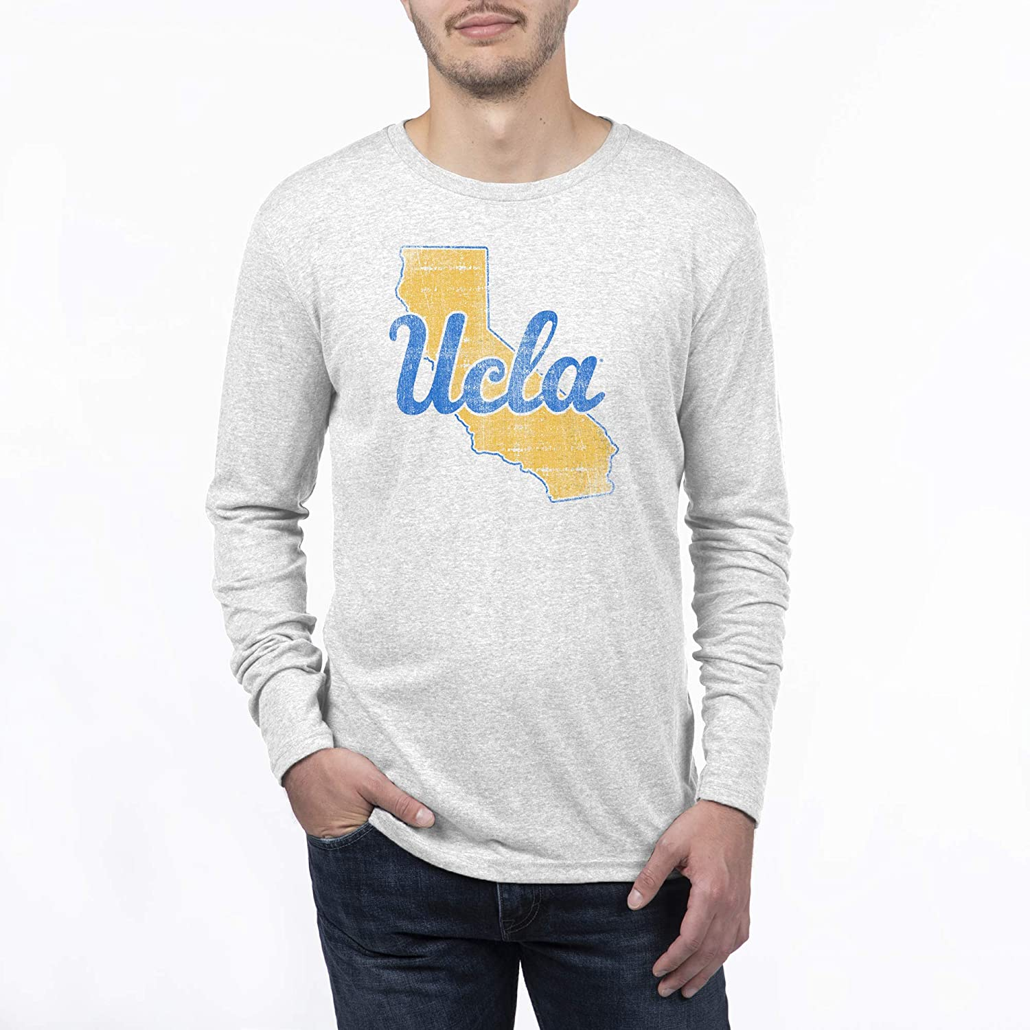 Top of the World Mens Modern Fit Premium Tri-Blend Long Sleeve Team Color Distressed State Icon Tee
