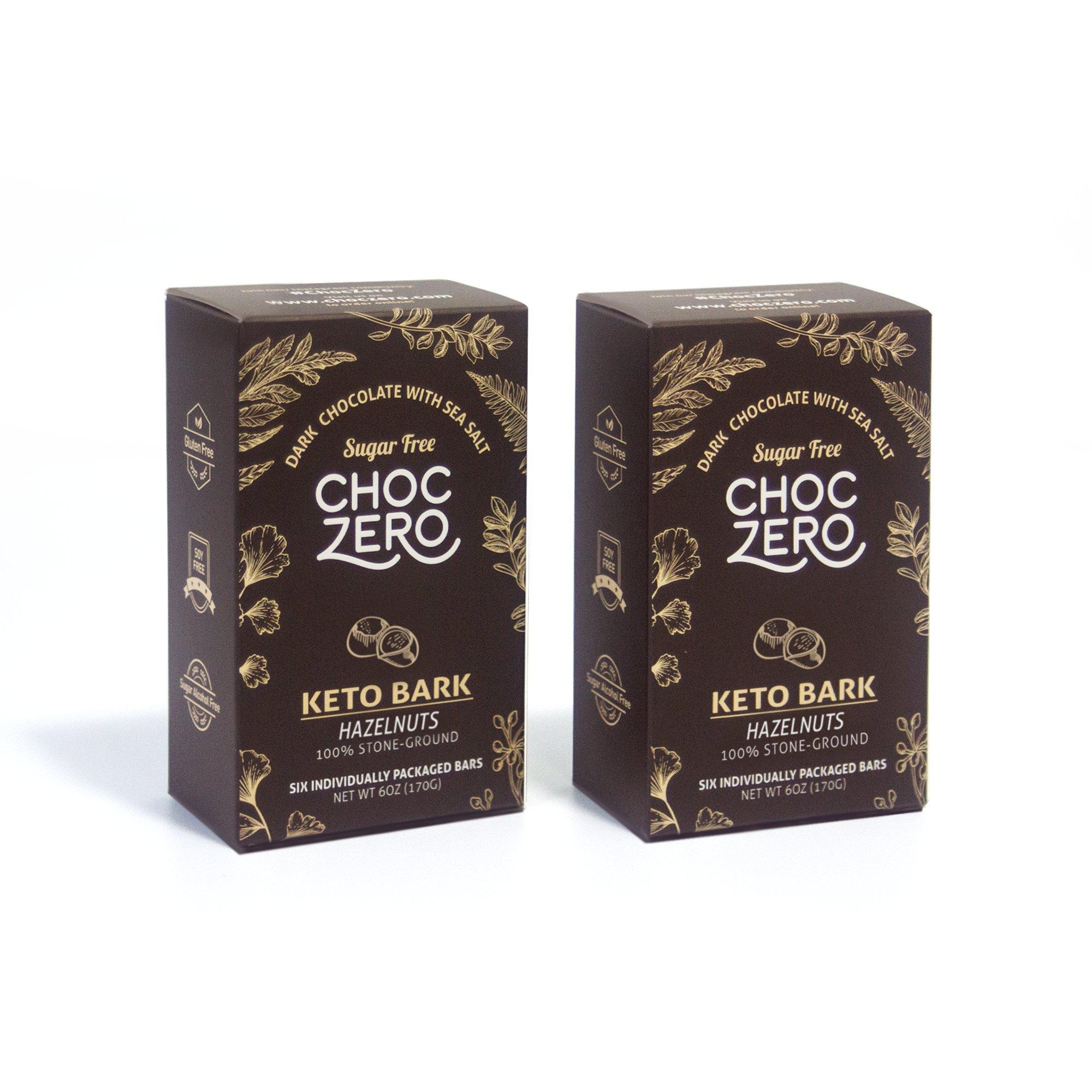 ChocZero's Keto Bark, Dark Chocolate Hazelnuts with Sea Salt. 100% Stone-Ground, Sugar Free, Low Carb. No Sugar Alcohols, No Artificial Sweeteners, All Natural, Non-GMO (2 boxes, 6 bars/each)