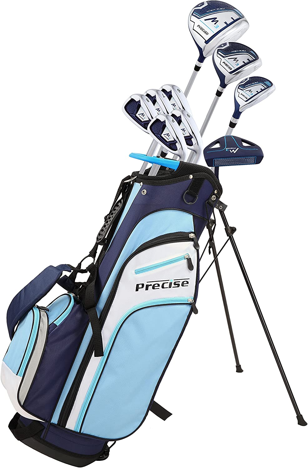Precise M3 Ladies Womens Complete Golf Clubs Set Includes Driver, Fairway, Hybrid, 7-PW Irons, Putter, Stand Bag, 3 H/C's Blue - Regular or Petite Size!
