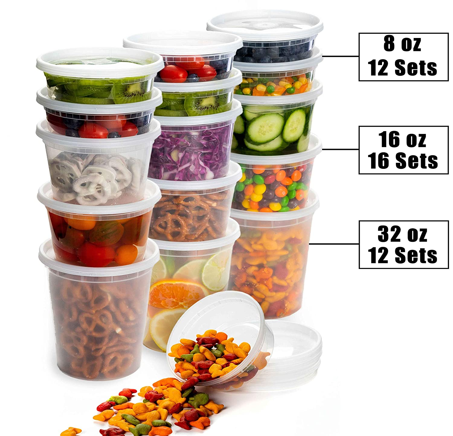 Safeware 8, 16, 32 Oz [40 Sets] Deli Plastic Food Containers with Airtight Lids, Leakproof Slime Small Combo Pack [Reusable, Storage, Disposable, Meal Prep, Soup, Microwaveable & Freezer Safe]