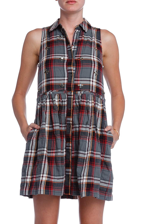 ELIZABETH & JAMES Womens Plaid BEAU Shirtdress Sz 0 Grey/Multi 190236E