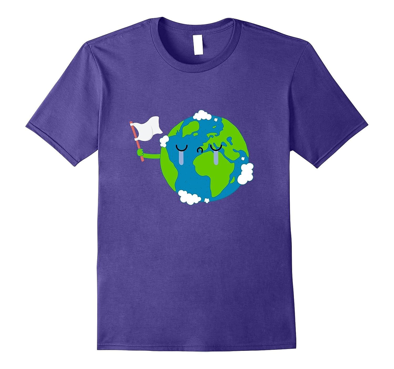 Sad Crying Earth Emoji Holding a White Flag T-Shirt-CD