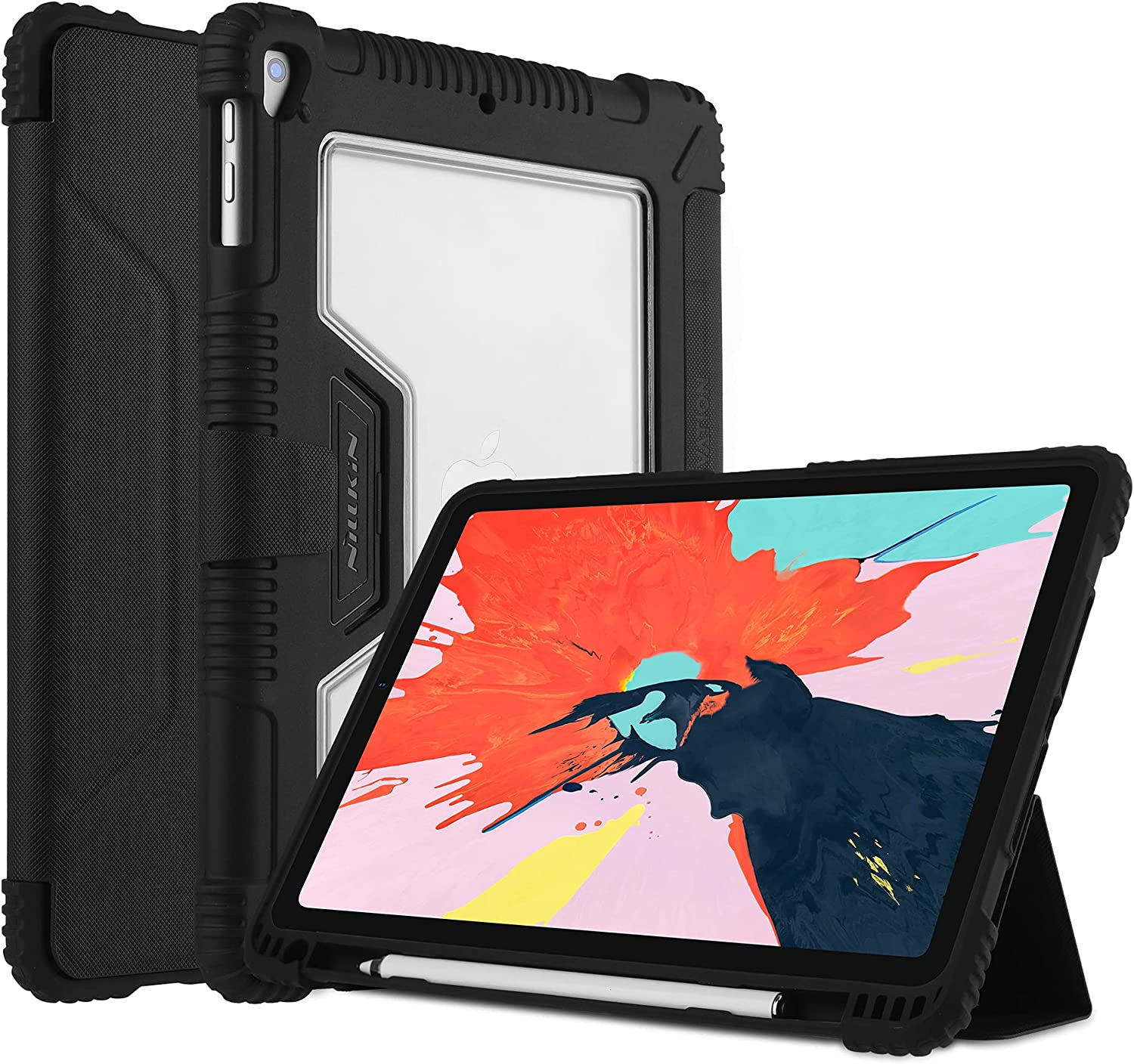 Nillkin iPad Pro 12.9 Case 2018 3rd Generation with Screen Protector,PU Leather Full Protective Case with Apple Pencil Holder and Auto Sleep,Smart Cover and Protective Film for iPad Pro 12.9 inch 2018