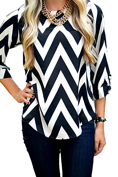 b7696cb5a Everly Chevron Print 3 4 Sleeves Round or V-Neck Zig Zag Shift Top Blouse  Thick Stripe - Round Neck - Black S at Amazon Women s Clothing store