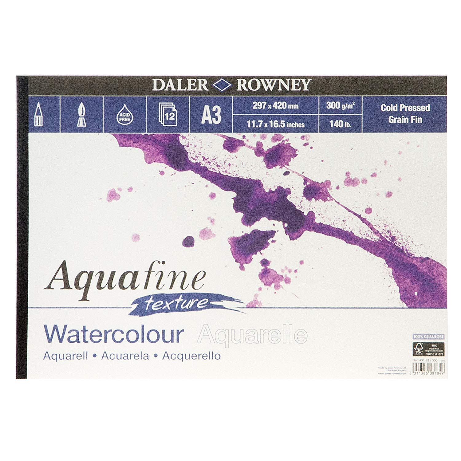 2X Aquafine Aquarelle Artists Watercolour Texture pad A3 Cold Pressed Daler Rowney