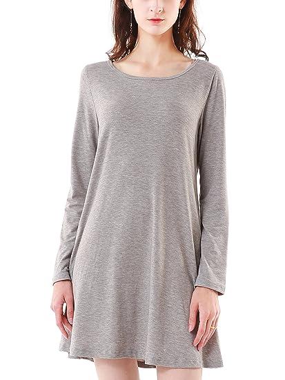 Summer Mae Vestito Casuale T-shirt Abitos Linea ad a Manica Lunga con Tasca  Donna 8859f1db785