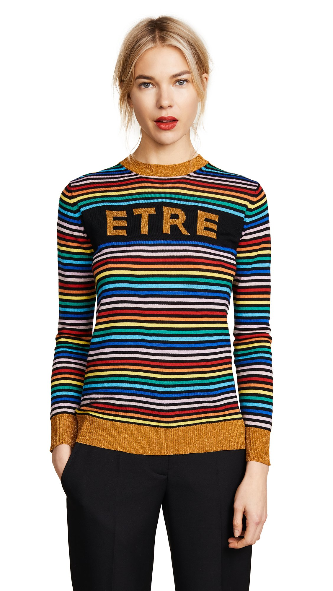 Etre Cecile Women's Etre Boyfriend Crew Knit Sweater, Multi Stripe, Large