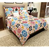 Home Candy Contemporary Attractive Cotton Double Bedsheet with 2 Pillow Covers - Multicolor