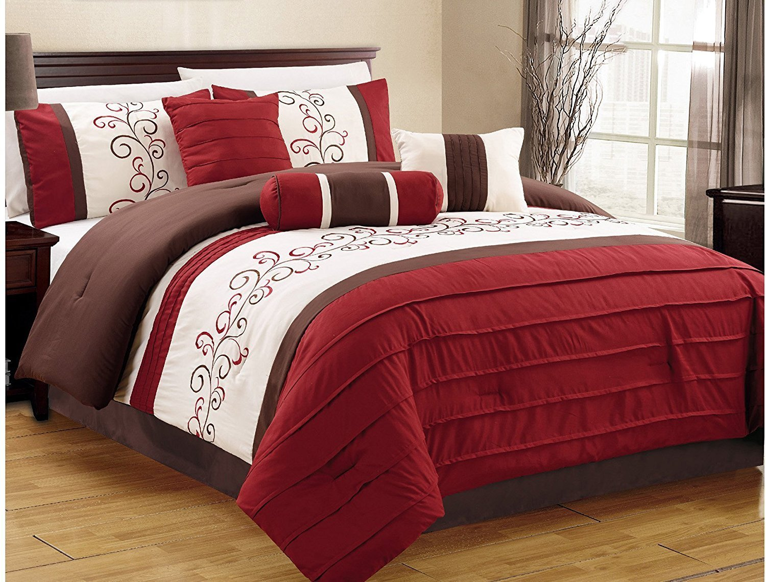 JBFF 7 Piece Luxury Embroidery Bed in bag Microfiber Comforter Set , King, Burgundy/Coffee