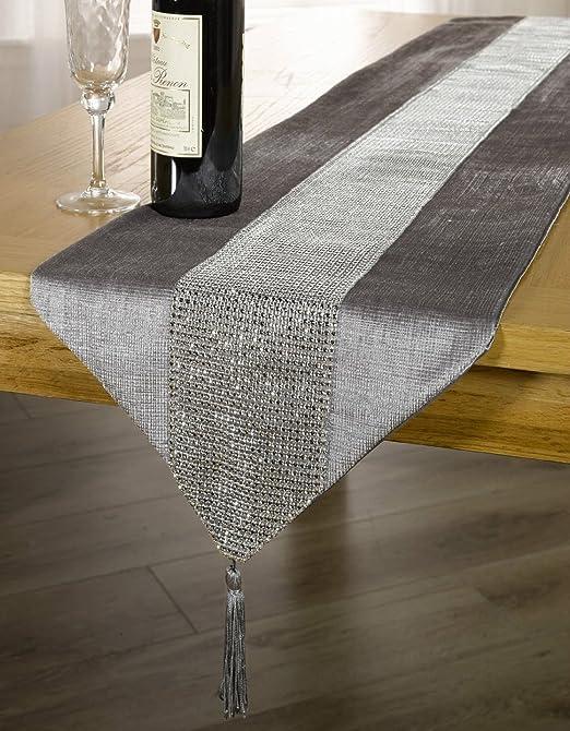 Plata/gris Diamantes de terciopelo Sparkle Bling camino de mesa ...