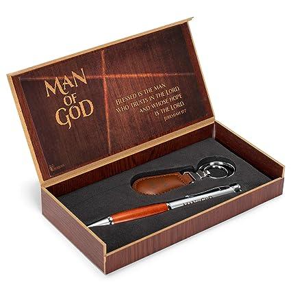 Hombre de Dios 2 piezas Metal madera bolígrafo y llavero en ...
