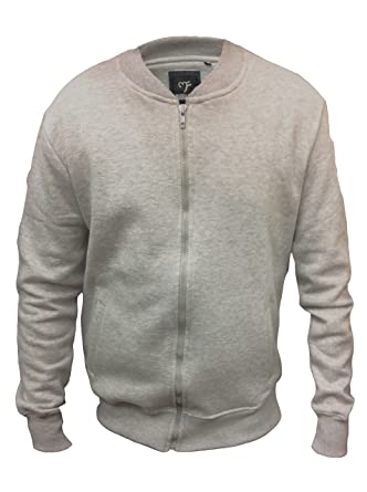 34b7c136fa7e98 InsightClothing Mens Full Zip Sweatshirt Crew Ribbed Neck Without Hood S- 5XL  Jumper Top 2