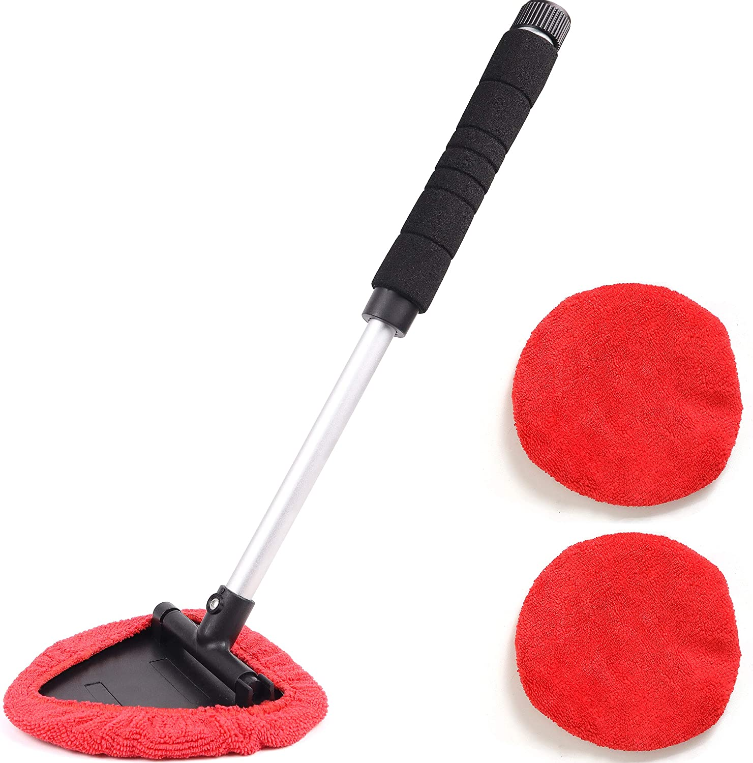 Car Window Cleaner Wipes Interior Exterior Cleaning Brush with Extendable Handle 180/° Swiveled Triangular Head Microfiber Cloth Cleaning Wand Teancll Windshield Cleaning Tool