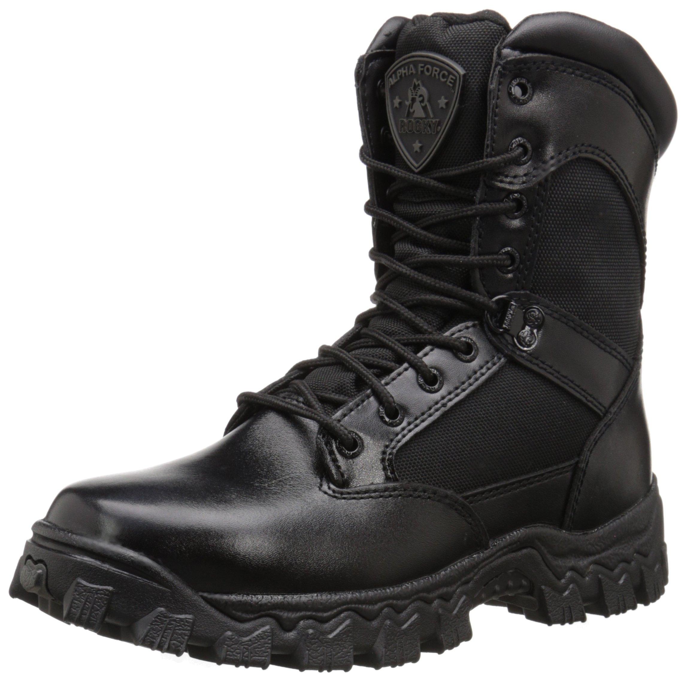 Rocky Duty Men's Alpha Force 8'' Zipper Boot,Black,10 W