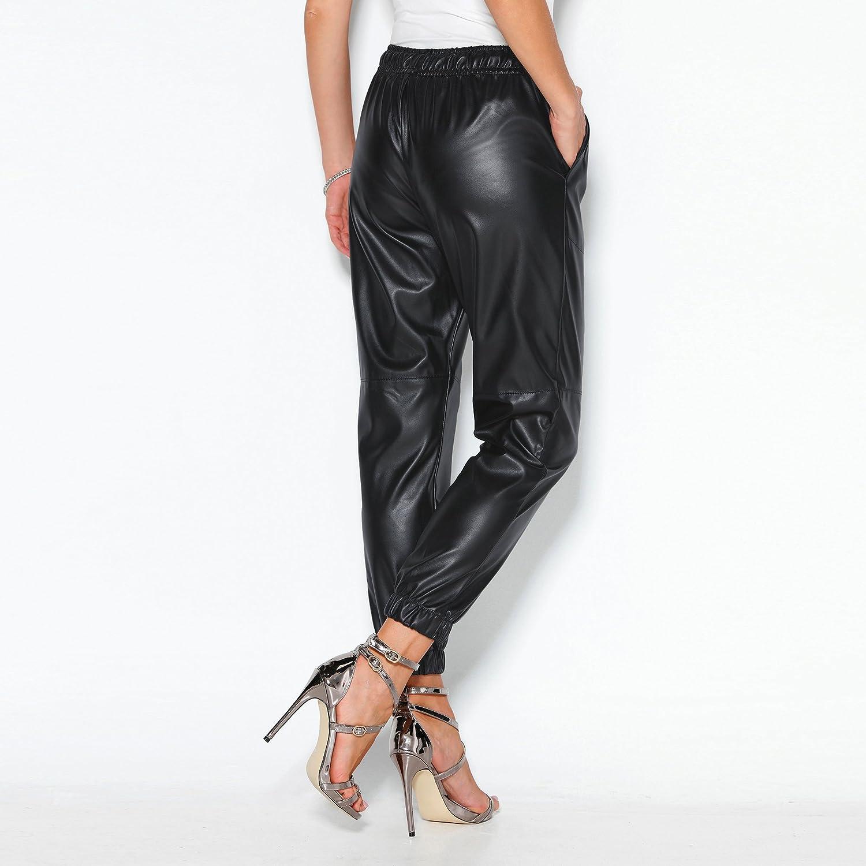 013747 Lange Jogginghose aus Kunstleder mit elastischem Hosenbeinbund