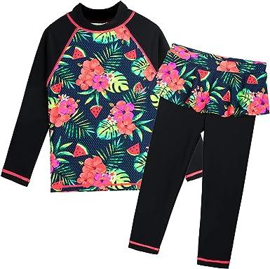 Sun Protection Sun Protection HUAANIUE Girls Swimsuit Rash Guard Bathing Suit UPF 50