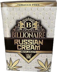 Billionaire Hemp Wraps! Organic Wraps, Tobacco Free! - (Russian Cream, 25 Packs)