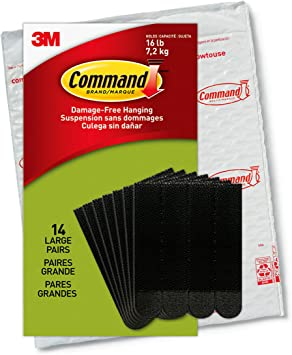 Command Large Picture Hanging Strips, Heavy Duty, Black, Holds up to 16 lbs, 14-Pairs, Easy to Open Packaging