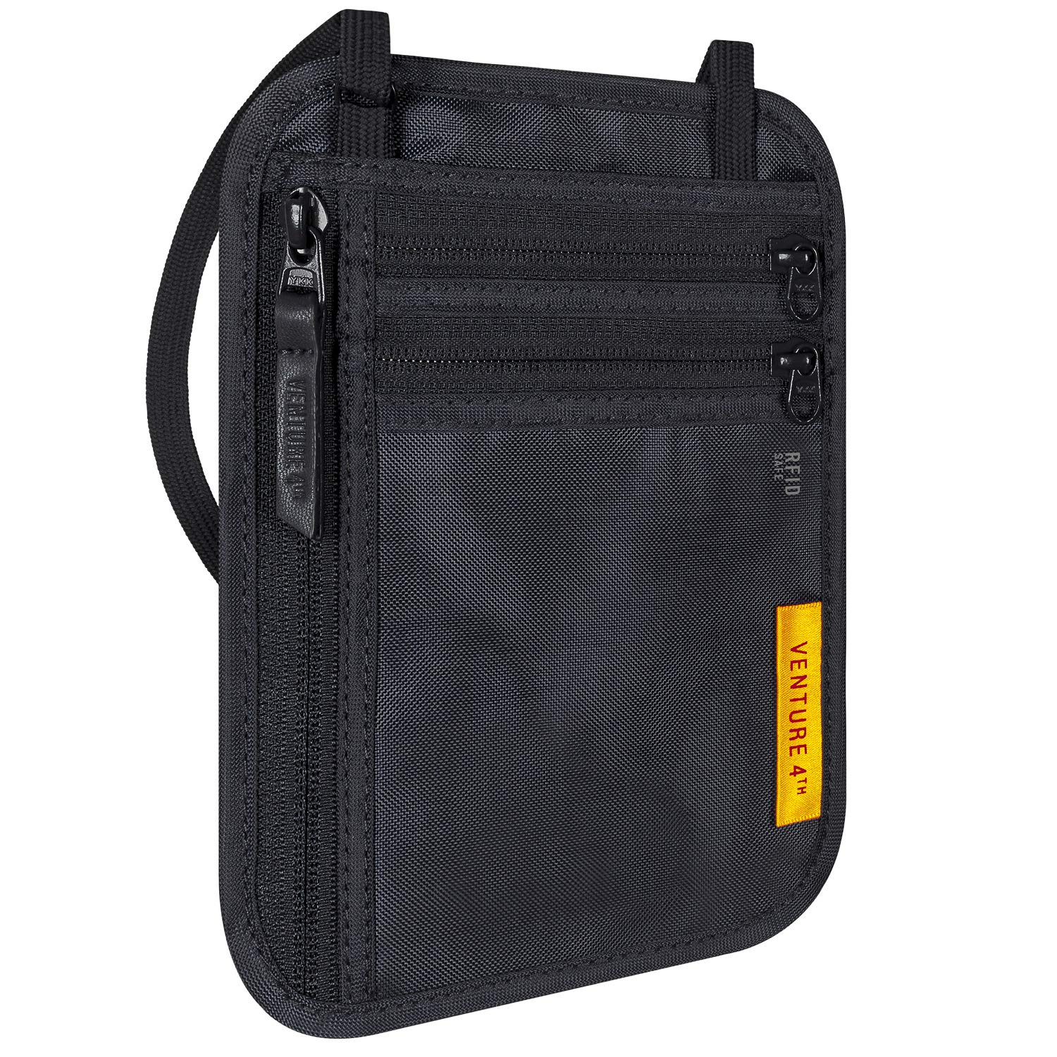 VENTURE 4TH Travel Wallet | RFID Passport Holder | Security Neck Pouch (Black)