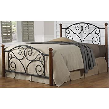 doral complete bed with metal duo panels and dark walnut wood posts matte black finish