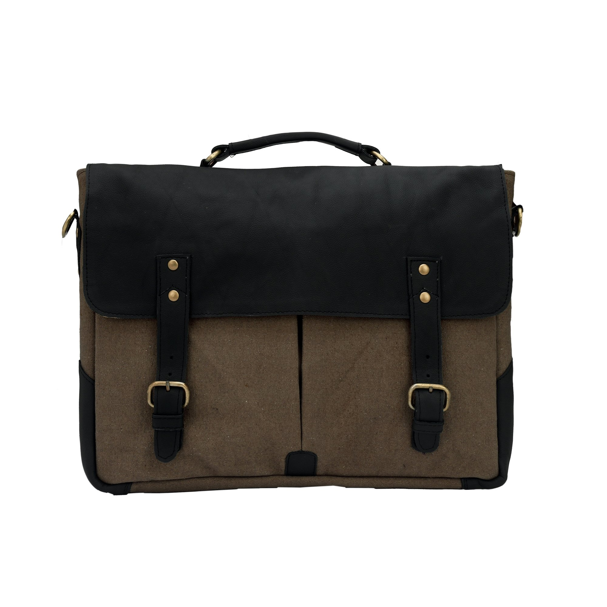 Carry Me Men's Leather Black & Grey Messenger/Briefcase/Laptop Bag For Office (Black & Grey)