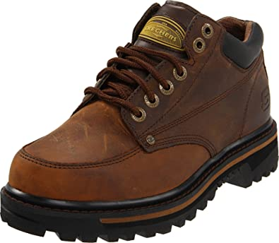 Skechers USA Men's Mariner Utility Boot,Dark Brown,7 EE - Wide