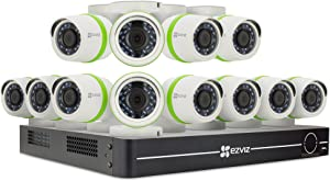 EZVIZ Smart Home 1080p Security Camera System, 12 Weatherproof HD 1080p Cameras, 16 Channel DVR 2TB HDD, 100ft Night Vision, Works Alexa Using IFTTT
