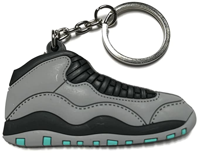 pretty nice 0508c dc6c9 Image Unavailable. Image not available for. Color  Air Jordan Retro 10 Gray  Black Shoe Keychain Collectable