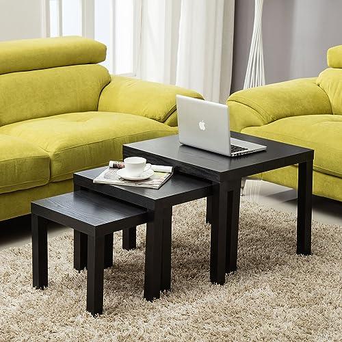 Wrights plastics gpx black acrylic nest tables set of 3 amazon mecor nest of 3 side gloss coffee table modern design living room watchthetrailerfo
