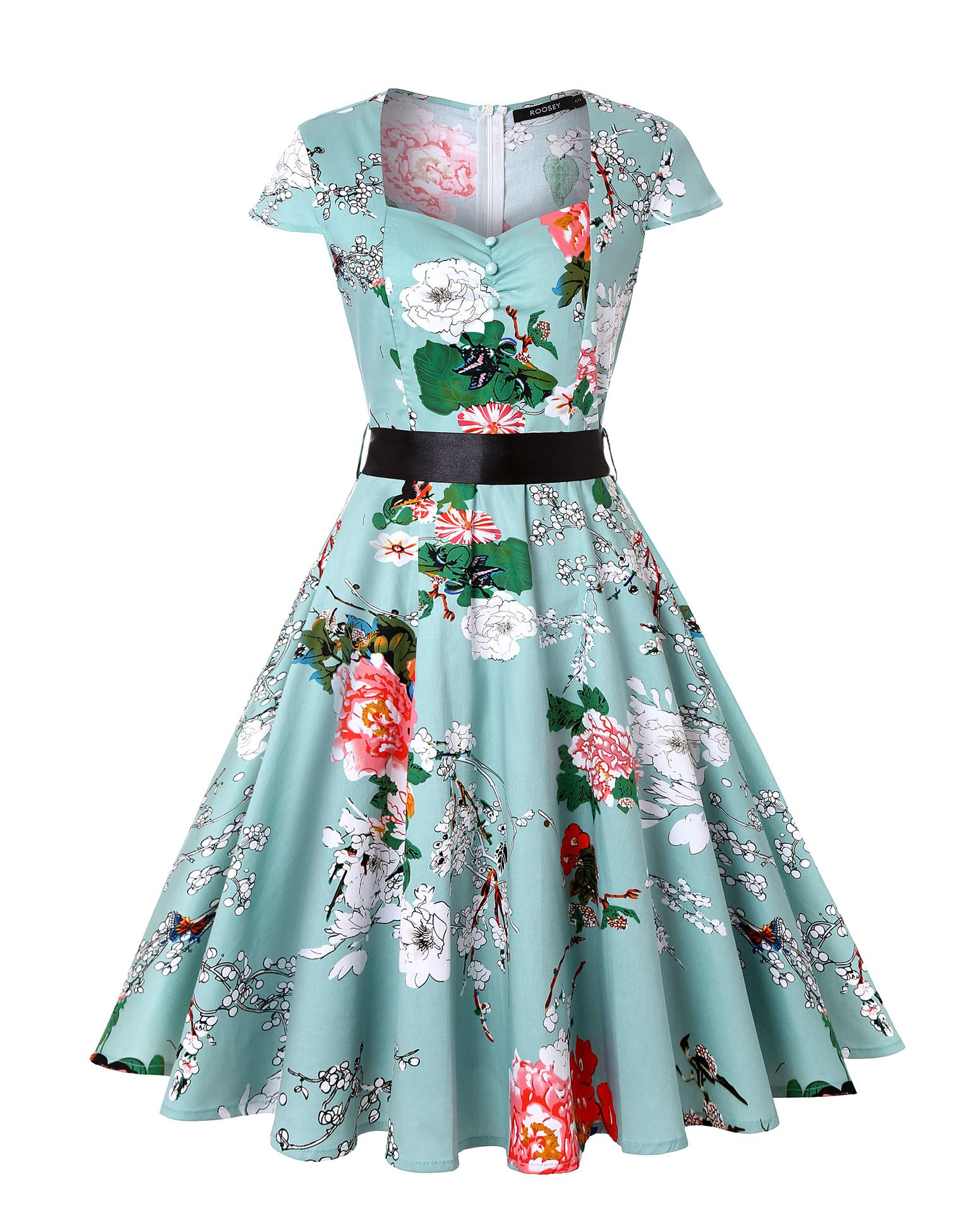 ROOSEY Women Vintage 1950s Retro Cap Sleeve Rockabilly Prom Party Wedding Dresses with Pockets
